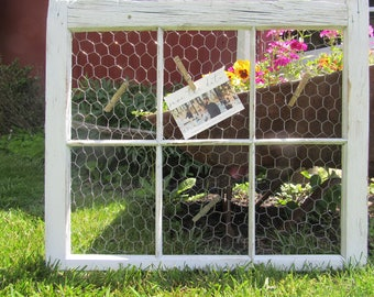 Rustic, Chicken Wire, Old Window, Photo Board,Antique
