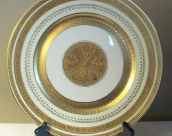 Stouffer Bohemia White and Yellow Gold Encrusted Dinner Plate