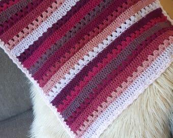 Plum Ombre Cosy Stripe Crochet Baby Blanket