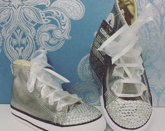Silver high crystal converse