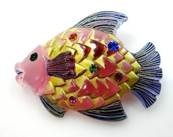 1940's Pastel Lucite and Rhinestones Figural Fish Pin