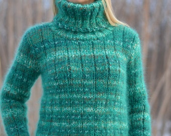 READY handmade sweater mohair jumper fuzzy Tneck soft pullover hand knitted thick chunky warm striped wool sweater merino jumper Dukyana