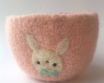 Salmon Pink Bunny with Bowtie Felted Wool Bowl