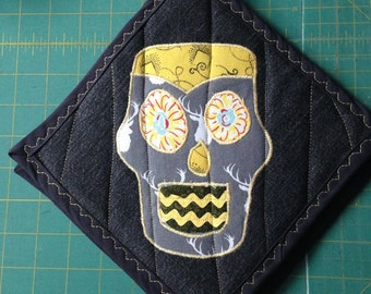 Grey and Yellow Sugar Skull Hot Pads