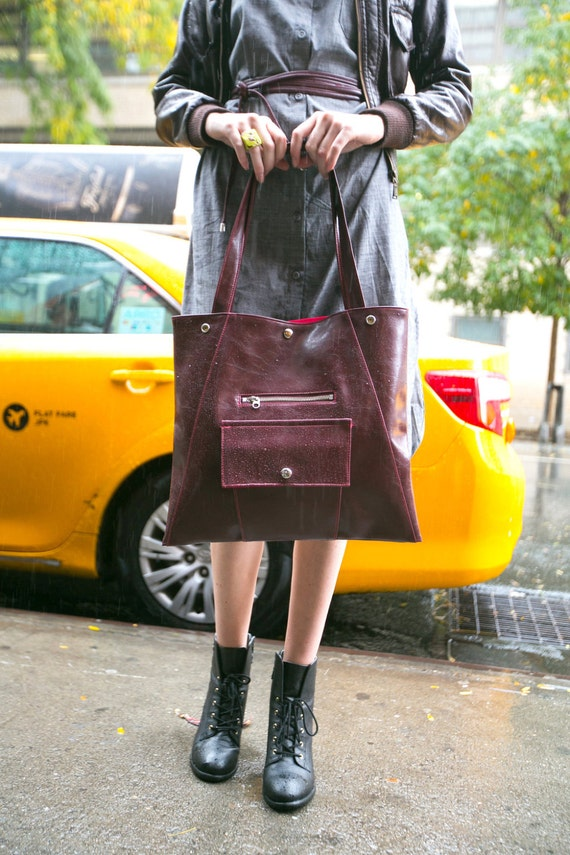Burgundy Chic Briefcase - Laptop Tote Bag Washable Waterproof
