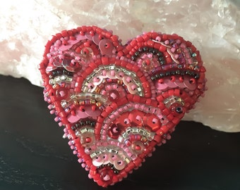 Rising Heart - Bead Embroidered Brooch