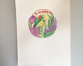Original Watercolor - Full Flower Moon