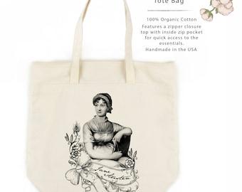 Jane Austen Organic Cotton Large Tote Bag