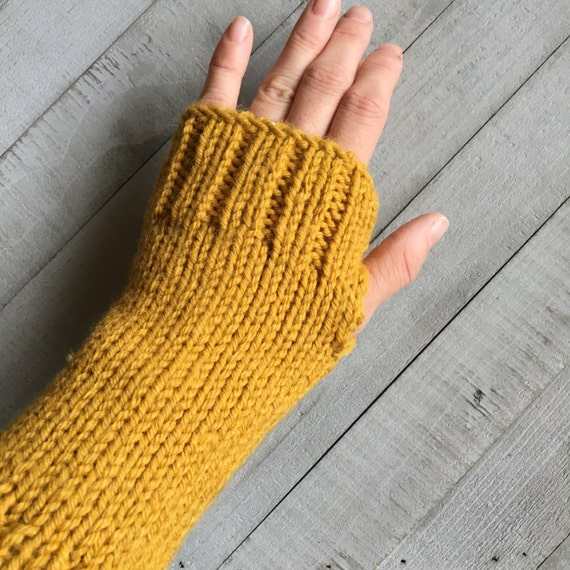 Knit Arm Warmers Fingerless Gloves in Mustard Yellow - SALE - Gift for Her, Winter Accessories, Fall Trends