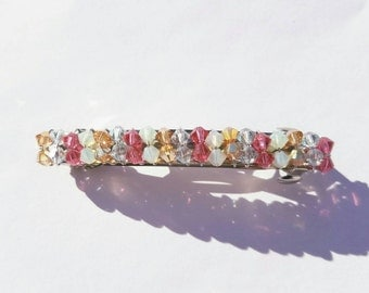 Swarovski Crystal Barrette, Pink and Orange, Hair Jewelry,Hair Clip