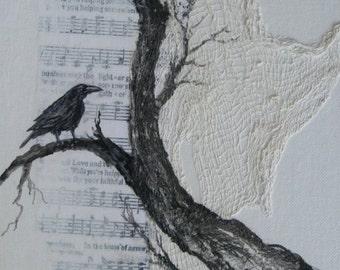 Raven Moon Dream, Original Mixed Media, Cottage Chic Decor, Original Acrylic painting by Griselda Tello