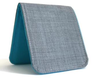 Mens Billfold Wallet / Thin Minimalist Fabric Wallet / Light Grey Wool / Non-Leather Wallet