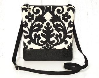 Zipper Crossbody Bag, Fabric Cross Body Purse, Small Hip Bag - Bold Damask in Black and Cream