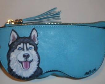 Siberian Husky Dog Hand Painted Eyeglass Case Vegan Sunglass Case