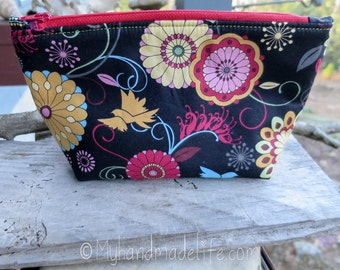 Zippered Pouch | Makeup Bag | Washable Lined Makeup Bag | Floral Fabric | Colorful Makeup Bag | Small Gift Under 20 | Camera Accessory Bag