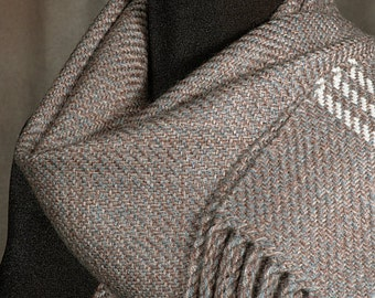 brown scarf / taupe scarf / handwoven merino wool scarf / winter scarf