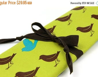 Sale Large Knitting Needle Case - Sparrow on Leaf Green - 30 brown pockets for all sizes or paint brushes, colored pencils