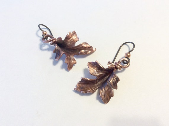 Copper Maple Leaf Earrings - hand hammered