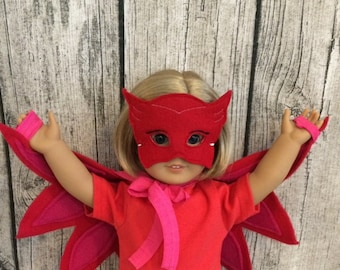 "Owlette costume for 18"" doll, Owlette wings mask for doll, 18"" doll wings, 18"" doll owlette, red wings doll, Easter Basket"