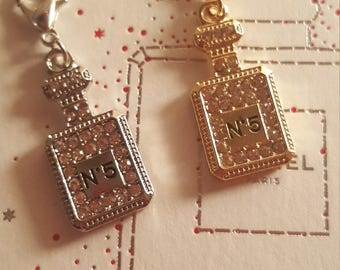 Set of 2 tiny crystal metal perfume bottle charms gold and silver