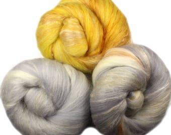 Canary - classic batts -- (4 oz.) organic polwarth wool, camel, silk, bamboo, sparkle.