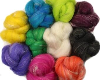 Paintbox battlings -- mini batts (2 oz.) organic polwarth wool, camel, silk, sparkle.