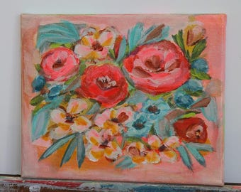 original floral painting 8x10 on stretched canvas- brights