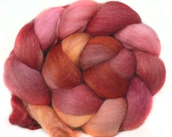 BABY ALPACA SILK CASHMERe roving top handdyed spinning fibre 3.7 oz