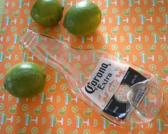 Recycled Glass Bottle, Fused Slumped Corona Beer Bottle for Spoonrest, Crackers, Willow Glass