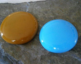 Fused Glass Cabochons Clearance Sale 2 large Cyan and Burnt Butterscotch, Glass Cab, Willow Glass