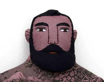 Dark Bearded Tattooed Man doll plush toile
