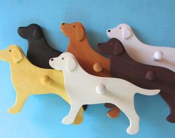 Labrador Retriever Dog Wood Leash Holder - Pick Your Labby Color