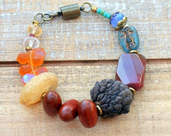 Nature Bracelet, Amber Jewelry, Magnetic Clasp, Chunky Bracelet, Bohemian Bracelet, Boho Jewelry, Fall Jewelry