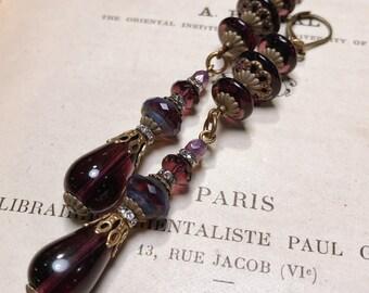 Extra Long Deep Purple Antique Brass Art Deco Vintage Inspired Drop Earrings