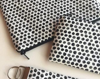 Teachers gift - Black and White organizer bags and key fob, change purse, ID wrist lanyard, zipper pouch set