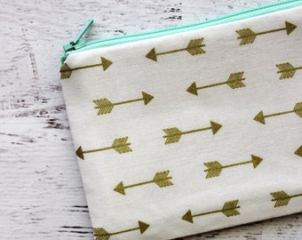 Arrows zipper pouch - Gold makeup bag - coin purse - cosmetics bag - zip pouch - small zipper pouch - under 10 gift - summer vibes