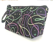 FINAL MARKDOWN Wristlet, makeup bag, cosmetics bag, zipper pouch, Mardi Gras, fleur de lis, beads, gift for women, small purse,