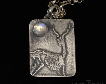 Deer Skeleton with Moonstone Small Sterling Silver