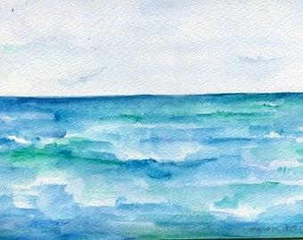 Seascape, original watercolor painting, ocean art 5 X 7 Beach artwork