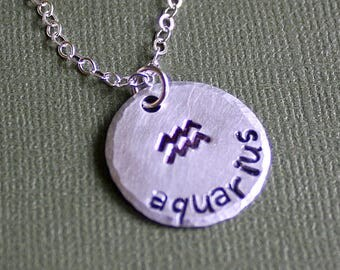 Zodiac Necklace - Aquarius - Personalized - Hand Stamped Jewelry