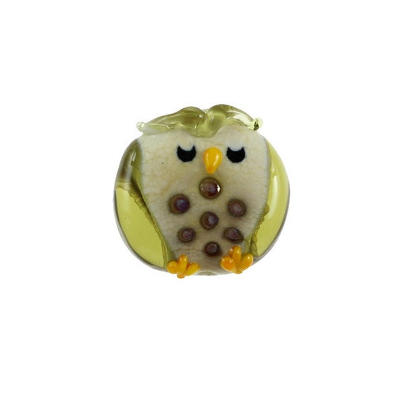 Ollie The Owl - Glass Lampwork Owl Bird Bead