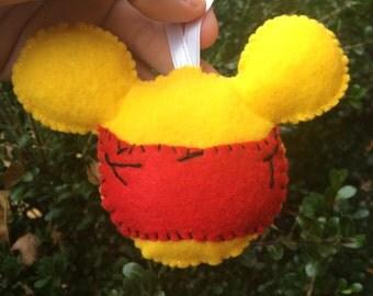 Winnie the Pooh Disney mouse ears Ornament Christmas - felt - handmade - pooh bear - Christmas tree - Christmas decoration