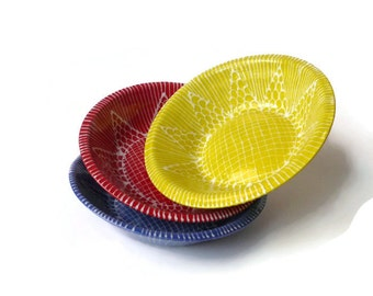Ceramic Bowls - Prep Bowls - Ring Bowl -Red Yellow Blue