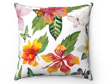Hibiscus Throw Pillow, Decorative Pillow, Decorative Throw Pillow, Indoor Pillow, Beach Theme Pillow, Gift for mom, Beach House Pillow
