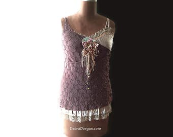 Layered Beaded Top, Upcycled, Soft Purple, Flower Brooch, Cream, Pretty Top, Unique Design, Boho, Vintage Velvet
