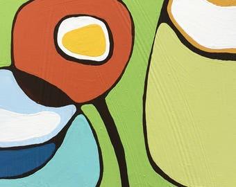 "Poppies on Green Painting 7.5""x11"" // Modern Poppy // Modern Decor // Abstract Art // Rachel Austin // Circle Art // Mid Century"