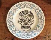 Sugar skull hand painted vintage bone china plate with hanger humor recycled day of the dead decor display