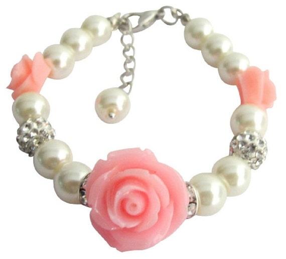 Flower Girl Bracelet With Pink Flower,Flower Girl Bracelet, Flower Girl Jewelry, Wedding Gift Jewelry, Child Bracelet, Free Shipping In USA