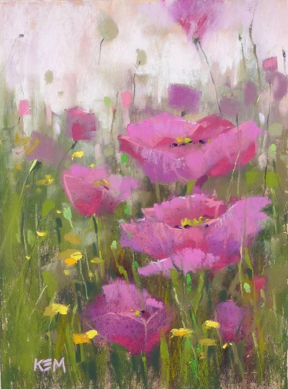 Original Pastel Painting Poppy PINK 6x8 by Karen Margulis psa
