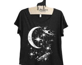 XL-  Tri-Blend Black Dolman Tee with Crescent Moon Galaxy Screen Print